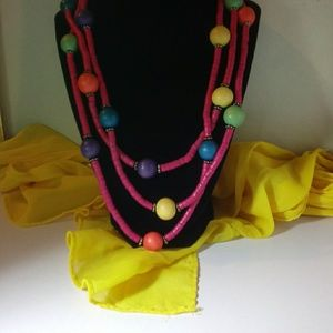 Retro Vintage Colorful Triple Strand Necklace